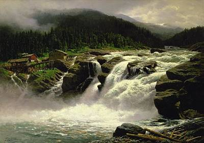 Norwegian Painting - Norwegian Waterfall by Karl Paul Themistocles van Eckenbrecher