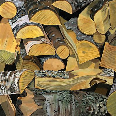 Log Cabin Interiors Painting - Norwegian Wood 1 by Jane Dunn Borresen