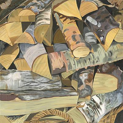 Log Cabin Interiors Painting - Norwegian Wood 2. by Jane Dunn Borresen