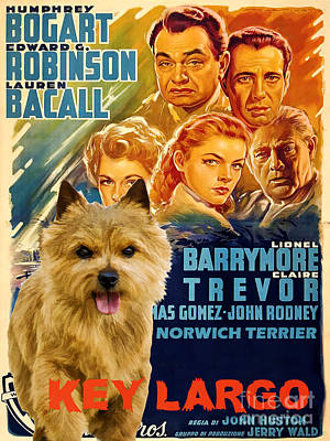 Painting - Norwich Terrier Art Canvas Print - Key Largo Movie Poster by Sandra Sij