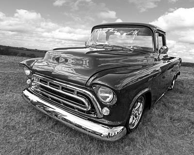 Chevrolet Truck Photograph - Nostalgia - 57 Chevy In Black And White by Gill Billington