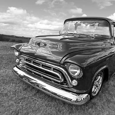 Nostalgia - 57 Chevy In Black And White Square Art Print