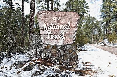 Digital Art - Nostalgic Gila National Forest Roadside Sign New Mexico Colored Pencil Digital Art by Shawn O'Brien