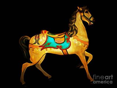 Playground Digital Art - Nostalgic Vintage Carousel Horse Dsc2945 by Wingsdomain Art and Photography