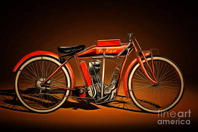 Photograph - Nostalgic Vintage Indian Motorcycle 20150227n2 by Wingsdomain Art and Photography