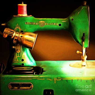 Nostalgic Vintage Sewing Machine 20150225 Square Art Print by Wingsdomain Art and Photography