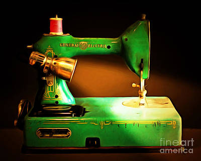 Nostalgic Vintage Sewing Machine 20150225 Art Print by Wingsdomain Art and Photography