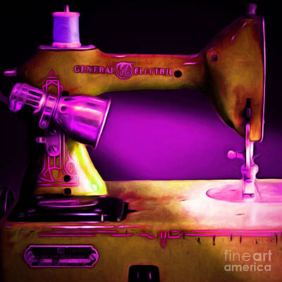 Nostalgic Vintage Sewing Machine 20150225m90 Square Art Print by Wingsdomain Art and Photography