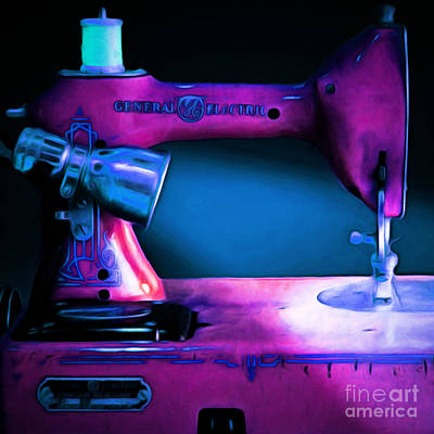 Nostalgic Vintage Sewing Machine 20150225p180 Square Art Print by Wingsdomain Art and Photography