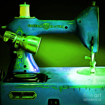 Nostalgic Vintage Sewing Machine 20150225p68 Square Art Print by Wingsdomain Art and Photography