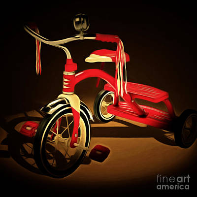 For The Kids Photograph - Nostalgic Vintage Tricycle 20150225 Square by Wingsdomain Art and Photography