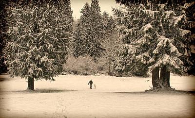Nostalgic Winter Walk In The Snow Art Print