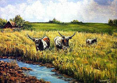 Steer Painting - Nosy Girls by Julie Townsend