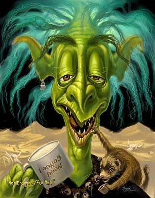 Ferret Painting - Not Enough Coffee Troll by Jeff Haynie