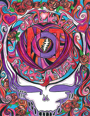 The Grateful Dead Drawing - Not Fade Away by Kevin J Cooper Artwork