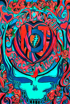 The Grateful Dead Drawing - Not Fade Away Two by Kevin J Cooper Artwork