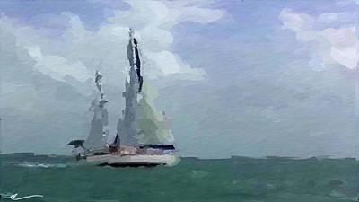 Yacht Mixed Media - Not Far From Paradise by Anthony Fishburne