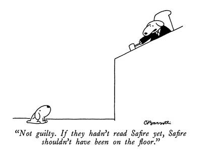 1990 Drawing - Not Guilty.  If They Hadn't Read Safire Yet by Charles Barsotti