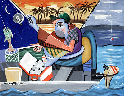Sports Paintings - Not Just A Fish Story by Anthony Falbo