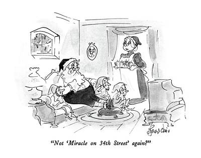 Elf Drawing - Not 'miracle On 34th Street' Again? by Edward Frascino