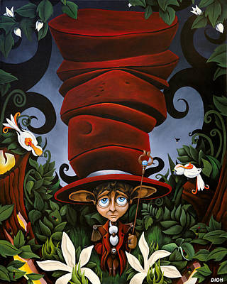 Tim Painting - Not So Mad Hatter by Dion Weichers