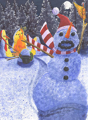 Winter Night Painting - Not The Best Idea by Catherine G McElroy
