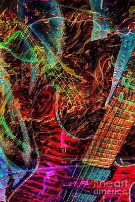 Notes On Fire Digital Guitar Art By Steven Langston Art Print by Steven Lebron Langston
