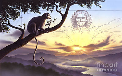 Notharctus Sits On A Tree Branch Art Print by Jerry LoFaro