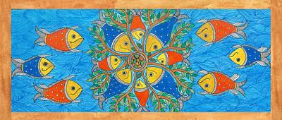 Madhubani Painting - Nothing Fishy-its A Family Reunion by Shishu Suman