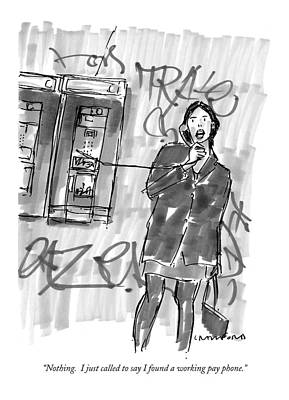 City Scene Drawing - Nothing.  I Just Called To Say I Found A Working by Michael Crawford