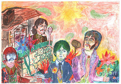 Fab Four Drawing - Nothing Is Real by Moshe Liron