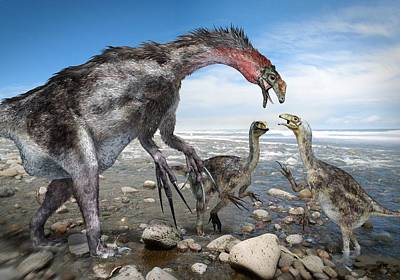 Nothronychus Dinosaur Family, Artwork Art Print by Science Photo Library