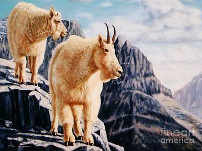 Mountain Goat Painting - Notice On High Mountain Goats by Tom Chapman