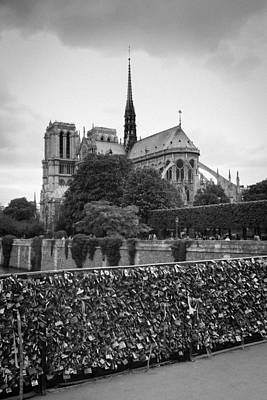 Photograph - Notre Dame And Love Locks by Heidi Hermes