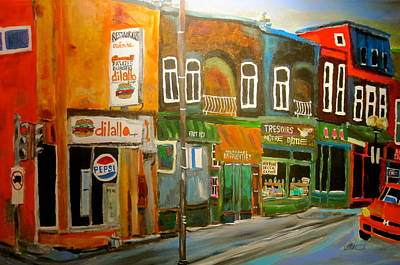 Montreal Memories. Painting - Notre Dame Antique Row by Michael Litvack