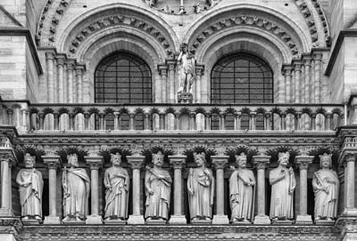 Photograph - Notre Dame Architecture In Black And White by Georgia Fowler