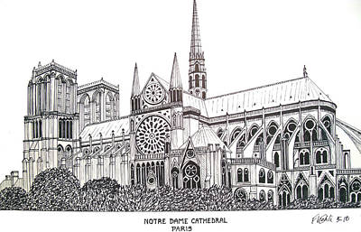 Pen And Ink Historic Buildings Drawings Drawing - Notre Dame Cathedral - Paris by Frederic Kohli