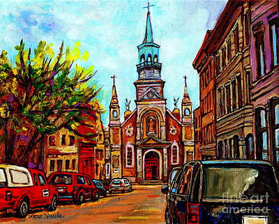 Painting - Notre Dame De Bon Secours Chapel Hommage Marguerite Bourgeoys Church Paintings Carole Spandau by Carole Spandau