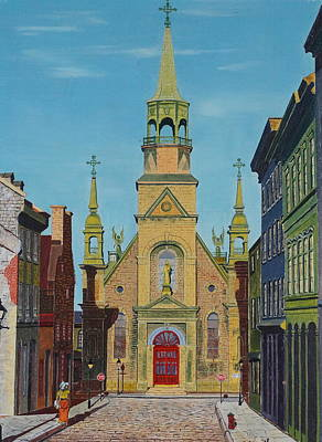 Old Montreal Drawing - Notre Dame De Bonsecours by William Goldsmith