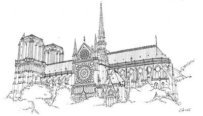 Drawing - Notre Dame De Paris by Calvin Durham
