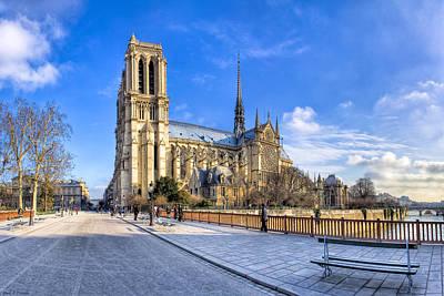Photograph - Notre Dame De Paris In Winter Sun by Mark E Tisdale