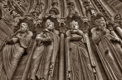 Photograph - Notre Dame Facade Detail by Michael Kirk