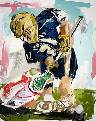 Scott Melby Painting - College Lacrosse Faceoff 1 by Scott Melby