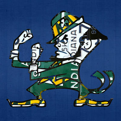 Universities Mixed Media - Notre Dame Fighting Irish Leprechaun Vintage Indiana License Plate Art  by Design Turnpike