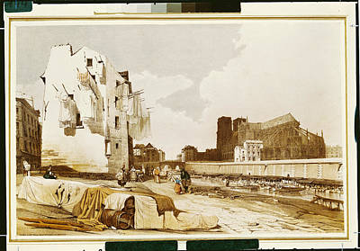 Daily Life Photograph - Notre Dame From The Quai St. Bernard Colour Litho by Thomas Shotter Boys