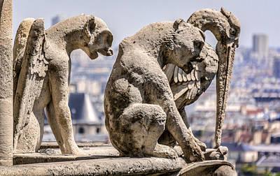 France Photograph - Notre Dame Gargoyles 2 by Bruce Ingwall