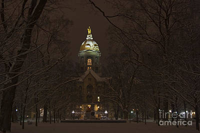 Notre Dame Golden Dome Snow Art Print by John Stephens
