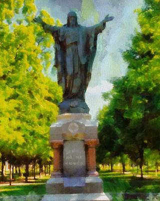 Universities Mixed Media - Notre Dame Jesus Statue In Summer by Dan Sproul
