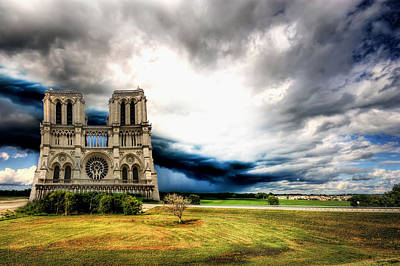 Paris Skyline Royalty-Free and Rights-Managed Images - Notre Dame on a field by Nicolae Feraru