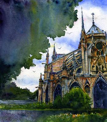 Painting - Notre Dame Paris France by John D Benson